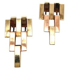Tiffany & Co Retro 14K Yellow and Rose Gold Brooches.