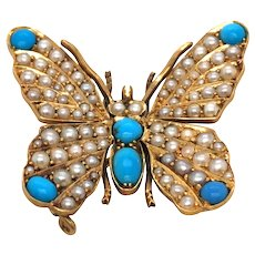 Antique 18K Turquoise and Seed Pearl Brooch.