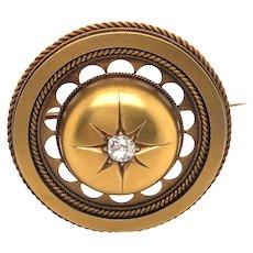 Victorian 14K Yellow Gold Diamond Brooch/Pendant.