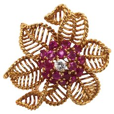 18K Yellow Gold Diamond and Ruby Brooch.