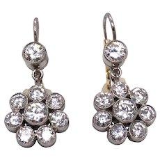 Platinum and 14K Yellow Gold Diamond Earring.