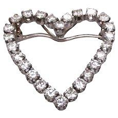 Platinum Diamond Heart Pin/ Pendant