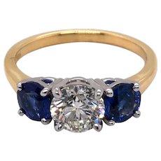 18K Yellow Gold and Platinum Diamond and Sapphire Ring