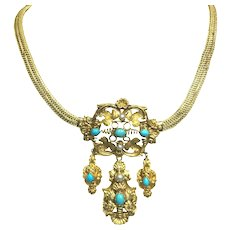 Antique 14K Yellow Gold Turquoise and Pearl Earring and Necklace Set