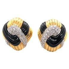 14K Yellow Gold Onyx, Diamond Earrings