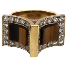 14K Yellow Gold Tiger Eye and Diamond Ring