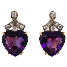14K White & Yellow Gold Amethyst and Diamond Earrings