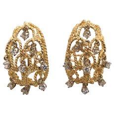 14K + 18K Yellow Gold Diamond Earrings
