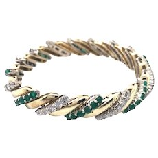 14K White and Yellow Gold Diamond and Emerald Bracelet
