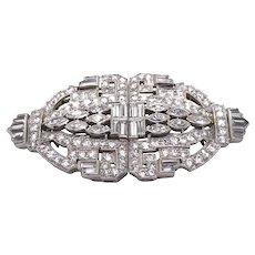 Art Deco Platinum Diamond Clip Brooch