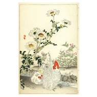 19th Century,original,Antique,Japanese,Hand colored,woodblock Print From KONO Bairei,Spring Summer Issue 1890,Brids,Flowers,Rare,Roosters
