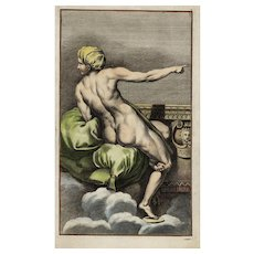 17th century,ancient,authentic,Master engraving,Woman in a nude scene,