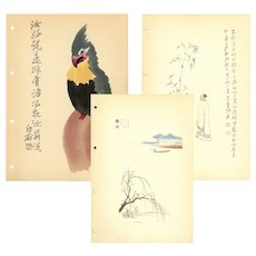 Set of three,Vintage,Mid Century,Chinese,Woodcut Print,Illustrations,Landscape and birds,