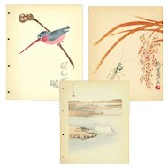 Set of three,Vintage,Mid Century,Chinese,Woodcut Print,Illustrations,Landscape and birds, Pao-Dsai