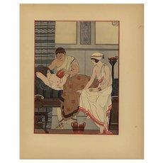 19th century,Antique,original,hand-colored,Art Decorative,Pochoir,French,Print,Medical treatment