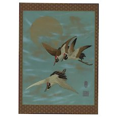19th century,Japanese,lithograph print,Large folio,Original chromolithograph,Cranes