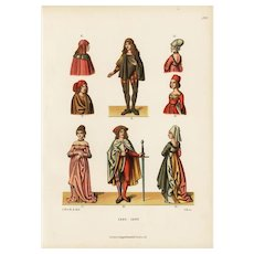 19th century,Authentic,original,hand colored finished,Decorative art,costume print
