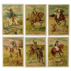 Liegbig set of six trade cards,Collectors item,cowboys,Hunting