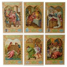 Set of six trade cards,Collectors item,Comical,drama,dance
