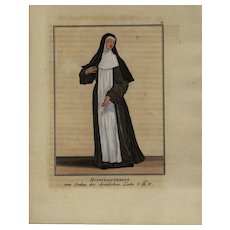 18th Century,Religious,hand colored,Decorative Art,engraving,Monastery,Woman From The Order Of Cleaning Marie In Flanders,dates 1754