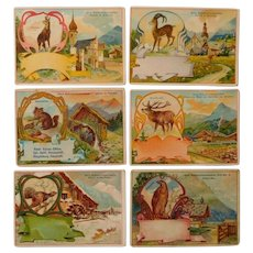 Advertisement cards,set of six trade cards,Collectors item,birds,animals
