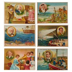 Liegbig set of six trade cards,Collectors item,Telephone,Telephone station