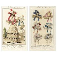 Set of Two,Antique,Original,Hand colored,Engravings,MODES DE PARIS 1827,Women Costumes,Hair,Hats