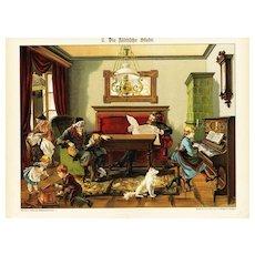 19th Century,Original,Antique,Hand Colored Print,Center Fold,Architecture,people,Children,Music,piano,family room