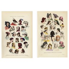 Set of two,Authentic,19th Century,Decorative art, French,Costume,Color,lithograph,print