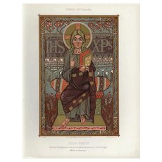 Authentic,19th Century,Decorative Art,Lithograph,hand finished print,Jesus Christ,Religious,biblical