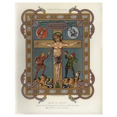 Authentic,19th Century,Decorative Art,Lithograph,hand finished print,Religious,biblical,crucifixion of Jesus