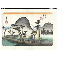 vintage original woodblock hand colored print from 69 STATIONS OF THE NAKASENDO