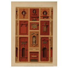 19th Century,Antique,Original,Architectural,Colored,lithograph,print,Large folio size,