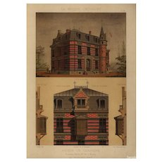 19th Century,Antique,Original,Architectural,Colored,lithograph,print,Large folio size