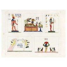 Antique,original,Hand colored,Engraving,Egyptology,Egyptian art,Symbols