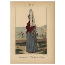 18th Century original hand colored French women costume engraving print Very Rare