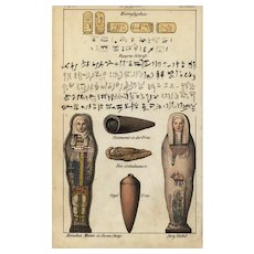Antique,original,Hand colored,Egypt pyramid,Pyramiden architecture,Decorative art,Engraving