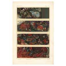 19th century,Japanese,lithograph print,Large folio,Original chromolithograph,Demons