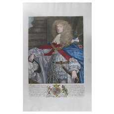 17th Century,authentic ,Original Hand-Colored Engraving of George Augustus, Prince of Wales, 1673