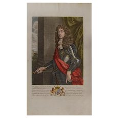 17th Century,authentic ,Original Hand-Colored Engraving of Charles, Earle of Carlisle, 1679