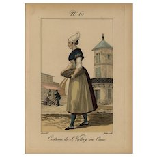 18th Century original hand colored French women costume engraving print