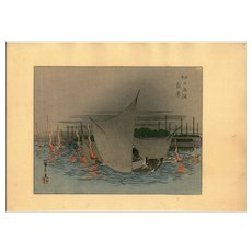 Antique,woodblock print,Hiroshige later printing,Meiji Period,Landscape