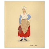 1930's Original  women French costume hand colored prints set of two