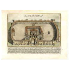 Architectural 17th Century Basilica of Caius and Lucius- ROME Itlay Fine Handcol FOLIO engraving