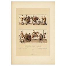 19th Century,Decorative art,Original,lithograph print,Artist firmin didot,circa 1887, Costumes