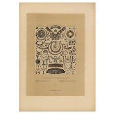 Set of three.19th Century,Decorative art,Original,lithograph print,Artist firmin didot,circa 1887,Middle Ages Renaissance