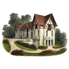 19 century French Architecture 1855 -PETIT Victor Original Hand colored