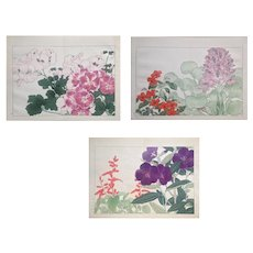 Set of three,Antique,Original,Japanese,Woodblock print,from,Tanigami Konan Western,Flower,Woodblock Album