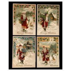 Original,Authentic,Post cards,Set of four,Santa Clause,Circa 1905-1917