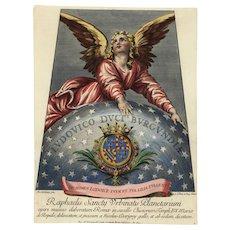 17th Century Antique Original Astronomy Hand colored  Engraving From raffaello raphael
